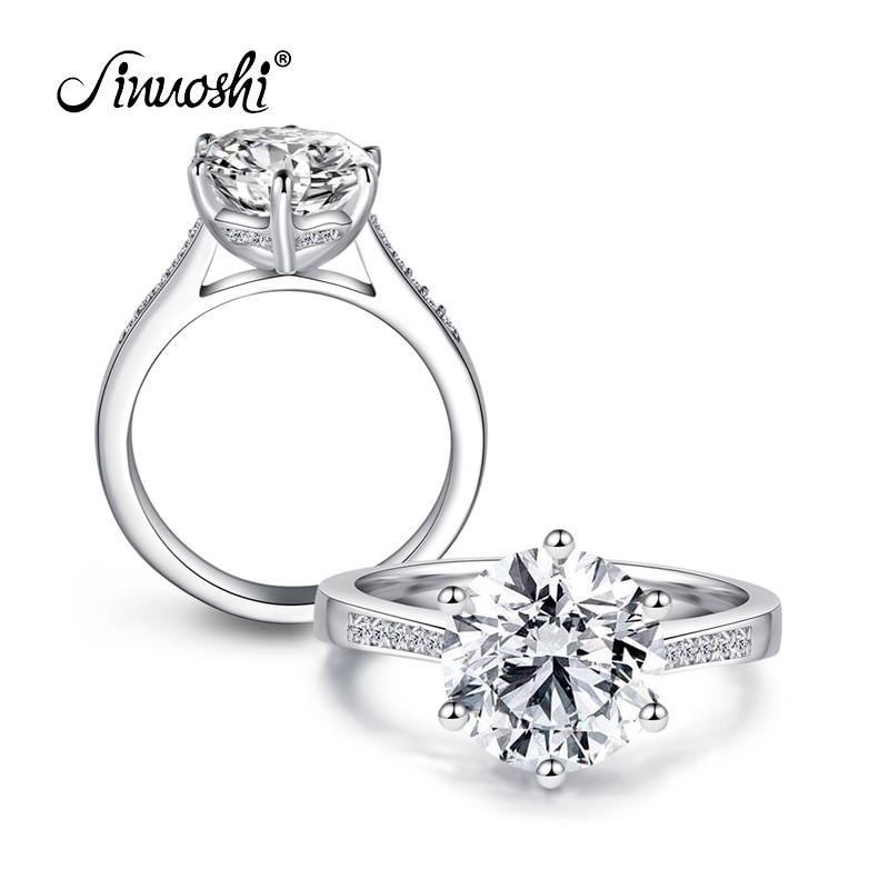 AINOUSHI Luxury 4 Carat NSCD Solitaire Ring Women Genuine 925 Sterling Silver Ring Engagement Sona Female Wedding Finger Rings