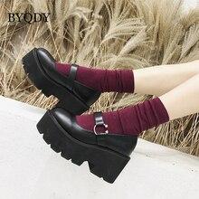 BYQDY Platform High Heels Women Shoes Round Head Mary Jane