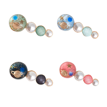 Star Girl Crystal Pearl Hair Clip Unique Round Colorful Hairpins Accessories