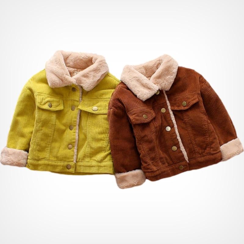 Модная зимняя куртка для маленьких девочек и мальчиков теплое пальто из вельвета с мехом для маленьких детей верхняя одежда для малышей, одежда высокого качества, От 1 до 5 лет-4