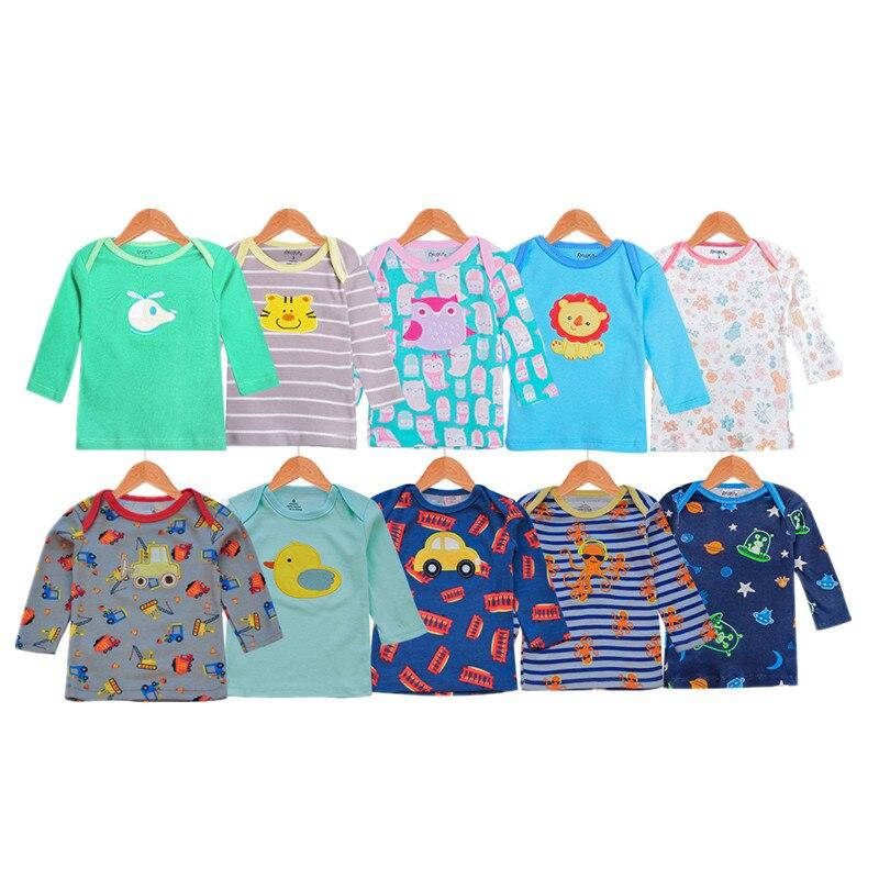 5pcs//lot 0-24months Short-sleeve T Shirt Baby Infant Cartoon Newborn Boys Girls