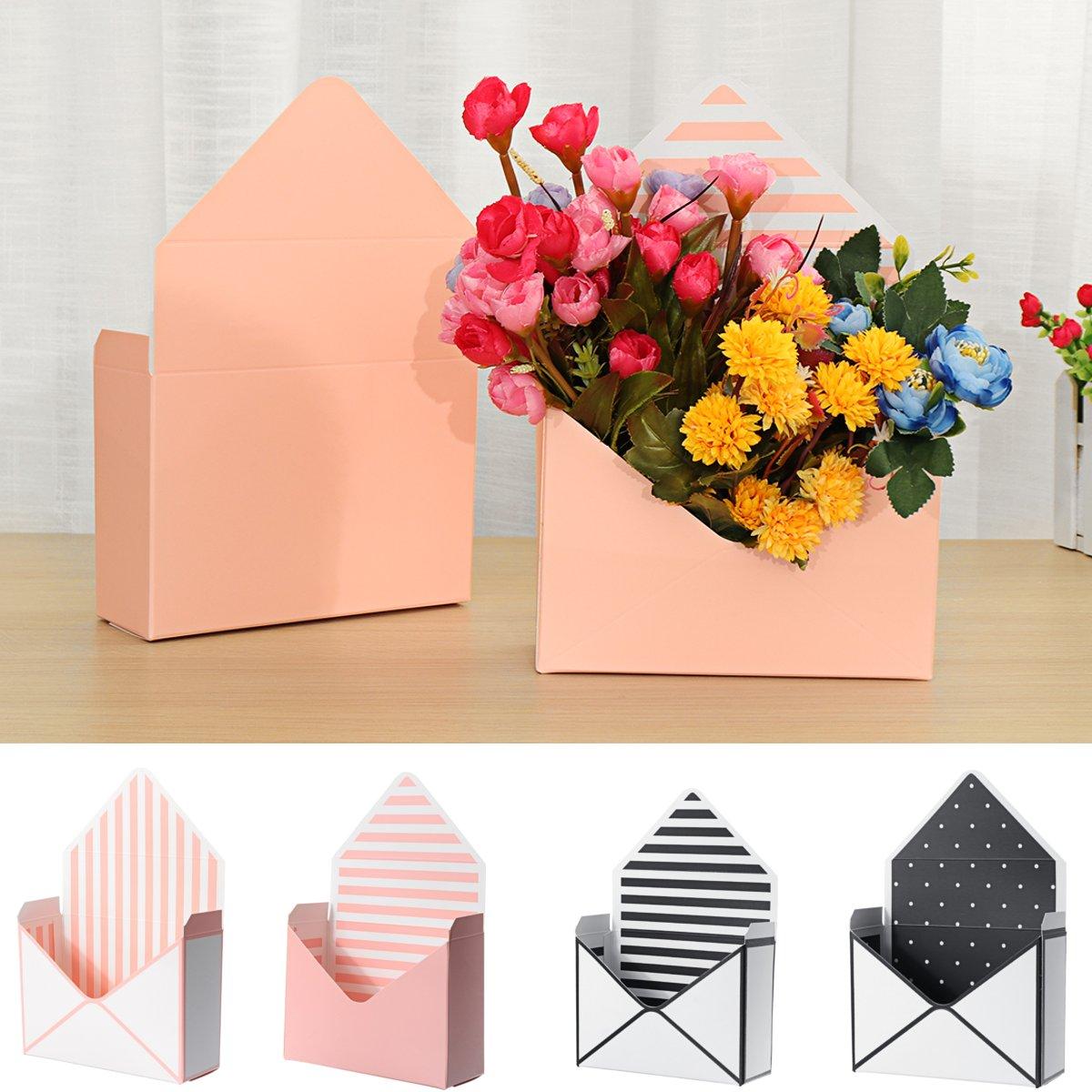 12Pcs/Set Bouquet Gift Box Envelope Flower Boxes Hand Holds Folding Floral Bouquet Paper Box Romantic Flower Paper Holder Decor