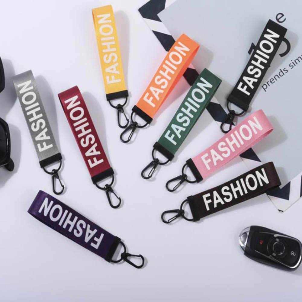 أزياء سيارة ملون حبل سلسلة مفاتيح الشريط مفتاح سلسلة إلكتروني المطبوعة كيرينغ اكسسوارات للرجال النساء حقيبة 2019 مجوهرات