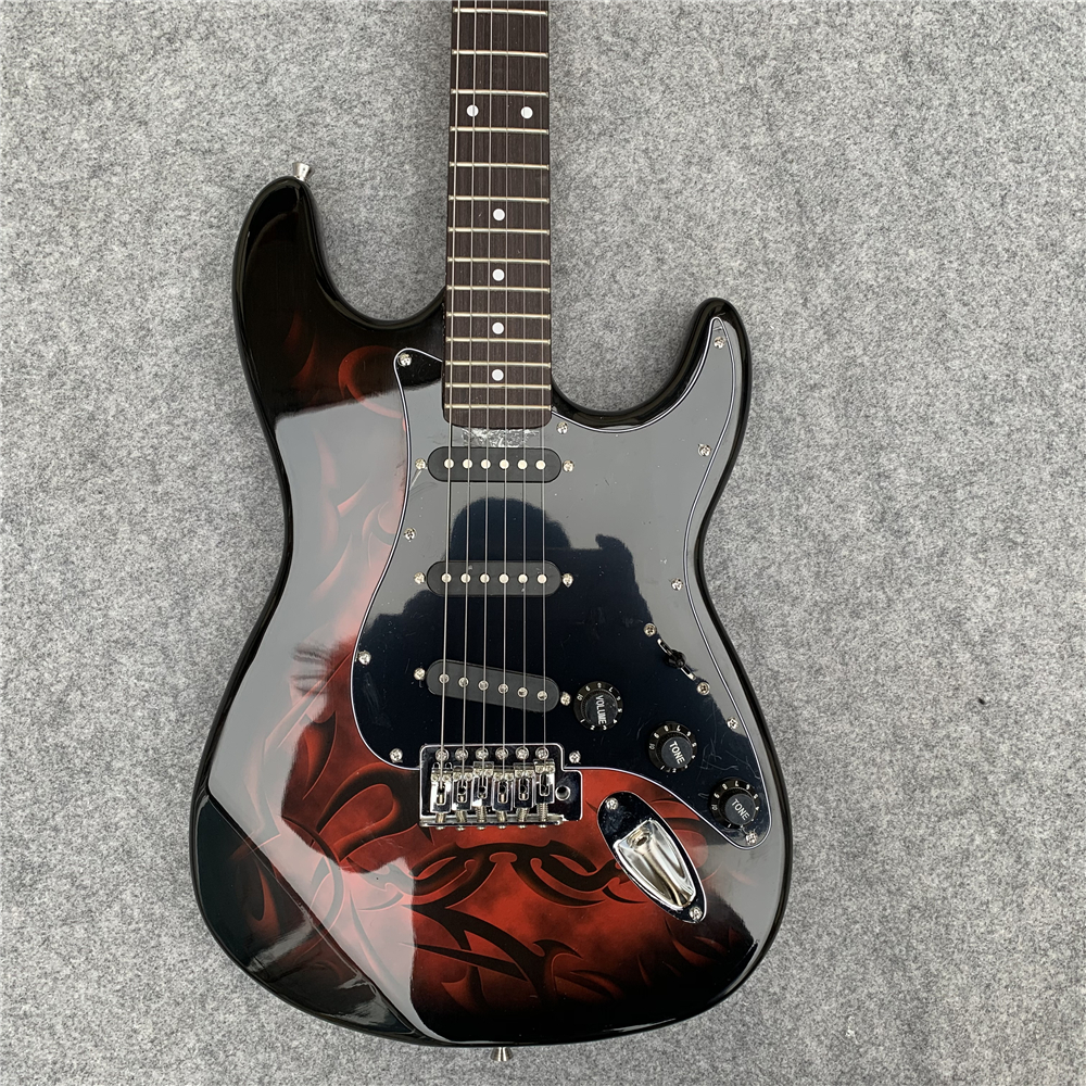 In stock, shipped within 24 hours. Red fire electric guitar, birthday gift, Seiko production.