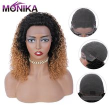 Wigs Human-Hair Blonde Color-Part Lace Water-Wave Natural-Black Women Peruvian Monika