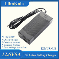 LiitoKala-Adaptador de fuente de alimentación de cargador, 3S, 12,6 V, 5A, paquete de batería de litio de 12V, baterías de ion de litio, convertidor de enchufe de CA CC de EU/US/AU/UK