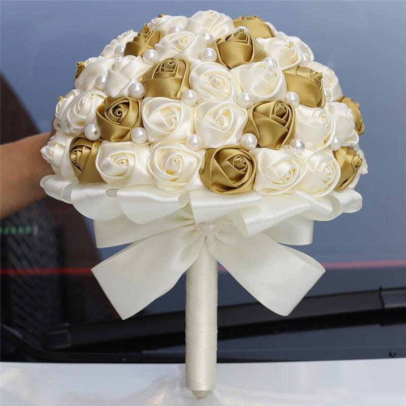 WifeLai-A 21CM Handmade Glod Ivory Satin Bridesmaid Bouquet For Mariage Simple Pearl Beaded Wedding Fowers Bridal Bouquets W322
