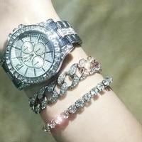 2020 mode Frauen Diamant Uhr Männer CZ Cuban Link Armband Casual frauen Armband Kristall Uhren Rapper Schmuck für Männer