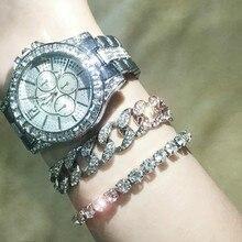 2020 Fashion Women Diamond Watch Men CZ Cuban Link Bracelet