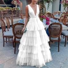 2019 Summer Sheer Mesh Maxi Dress Women Deep V Neck Sexy Party  Club Elegant Vintage White Layer Vestidos