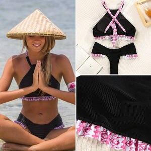 Image 5 - Miyouj fırfır çiçek Bikini 2020 mayo bandaj yay mayo kadın Biquini Feminino 2018 mayo seksi Bikini seti