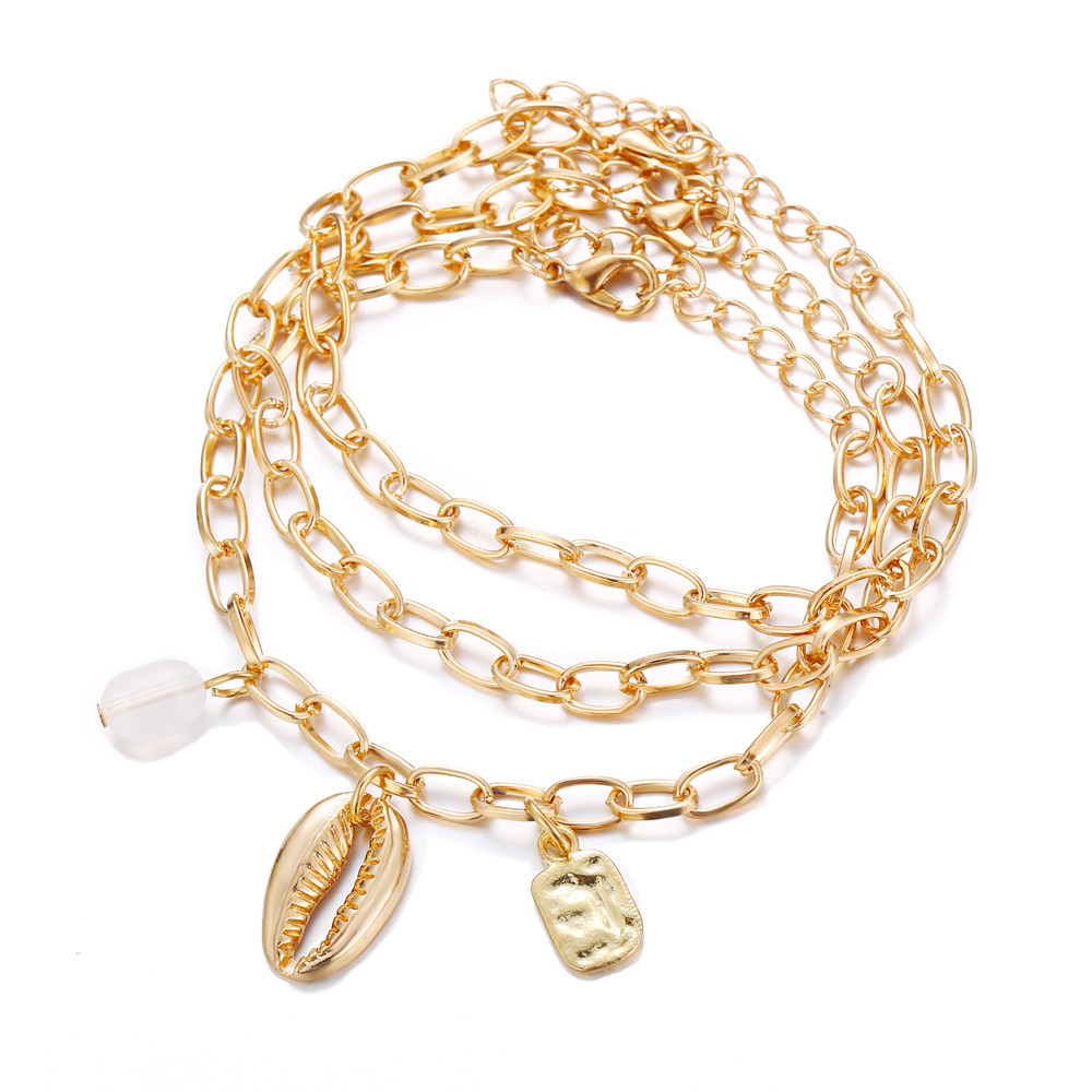 2019 Vintage Gold Shell Bracelet For Women Bohemian Hand-knitted Rope Chain Party Jewelry