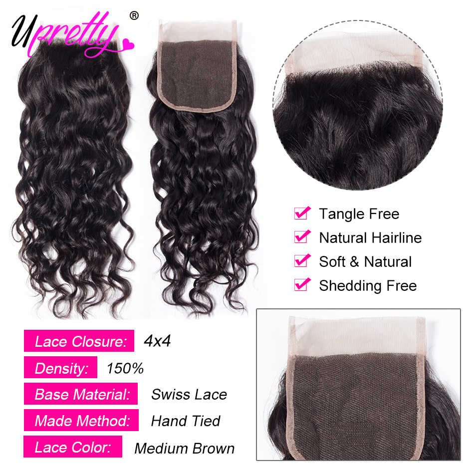 Upretty Water Wave Bundles With Closure Brazilian Hair Weave 3 Bundles With Closure Wet And Wavy Human Hair Bundles With Closure