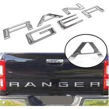 Tailgate Insert Letters for Ford Ranger 2019 2020, 3D Raised & Decals Letters, Tailgate Emblems (Silver)(China)
