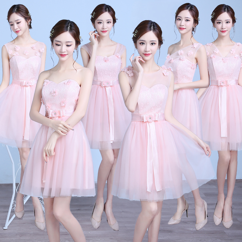Pink Bridesmaid Junior Elegant Short Guest Wedding Party Dresses For Women Tulle Sweetheart Sexy Prom Simple New Years Eve Dress