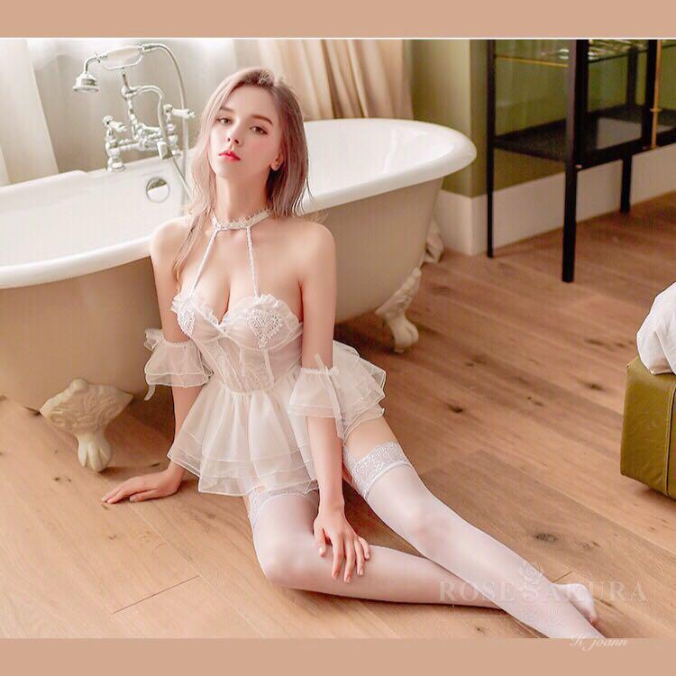 French Sweet Sexy Lingerie Mini Dress Female Sleepwear Perspective Mesh Gauze Hollow Pajamas Dress Heart Strap Nightdress Set