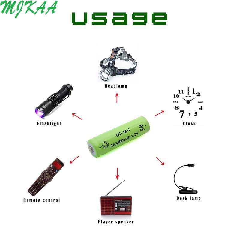 10 Uds AA 3800mAh + 10 Uds AAA 1800mAh batería recargable 1,2 V Ni-MH baterías para controles remotos, Radios antorchas relojes Juguetes