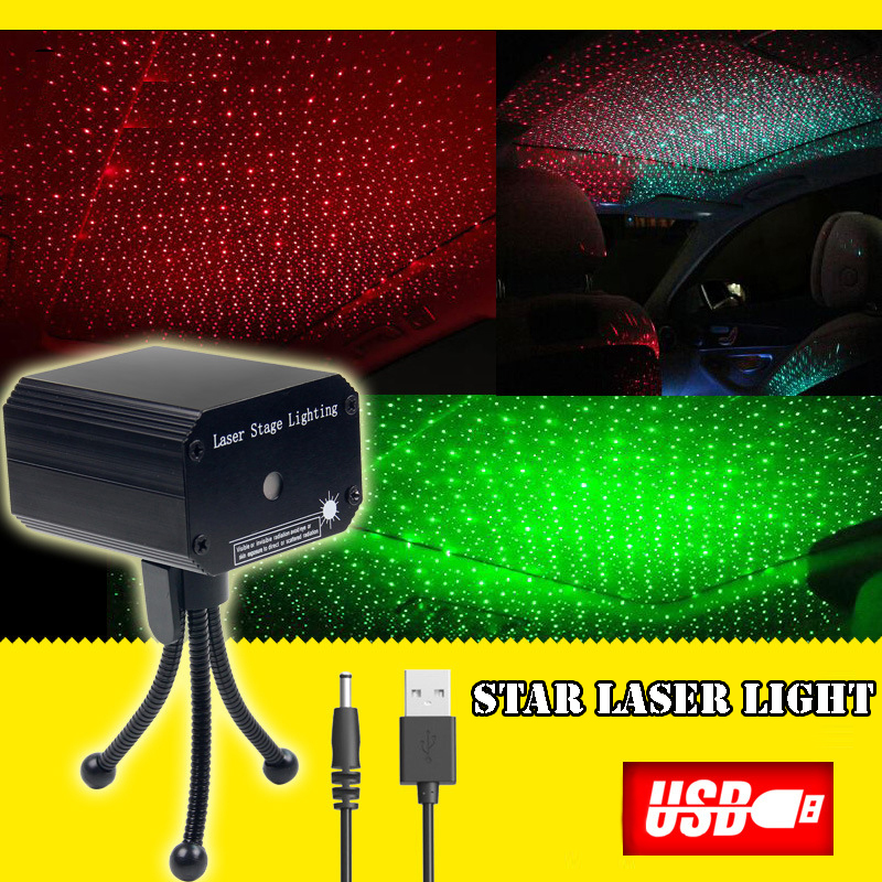 LED Stage New Star Mini Portable Charging Treasure USB Car Sound Control Laser Light USB Stage Light