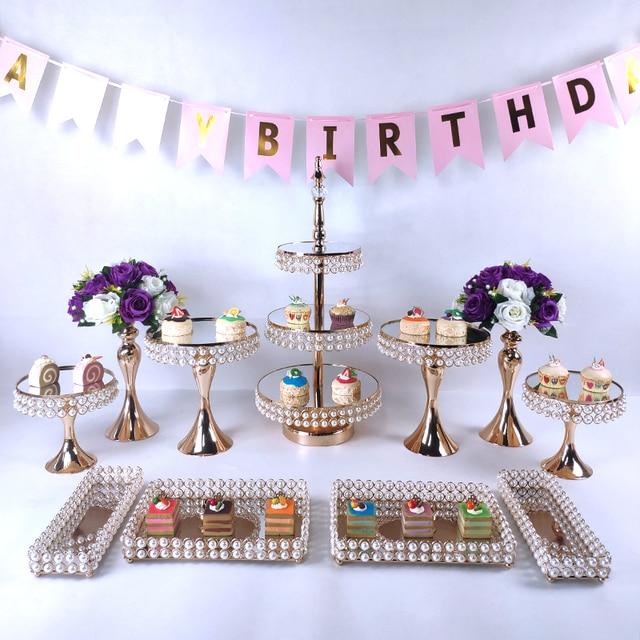 Nuevo conjunto de soporte para pastel, dorado, cristal, decoraciones de magdalenas, postre, Pedestal, fiesta, bandeja para pastel