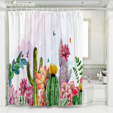 Tropical Plant Cactus Shower Curtain Polyester Fabric Bath For The Bathroom Decorations Watercolor Art Curtains