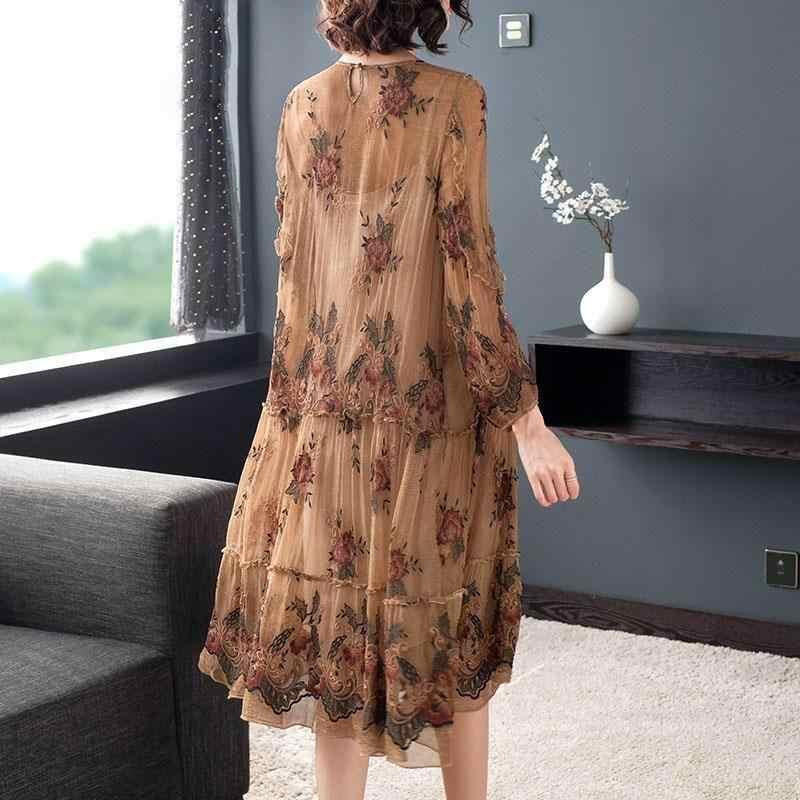 新ファッション夏大サイズ 5XL シフォンドレス女性 2020 春秋の女性のルース模造桑シルク花ドレス m60