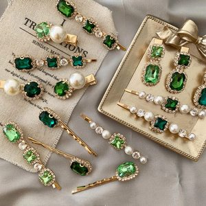 MENGJIQIAO New Korean Vintage Green Crystal Hairpins Elegant Pearl Hair Clips For Women Fashion Summer Holiday Hair Accessories