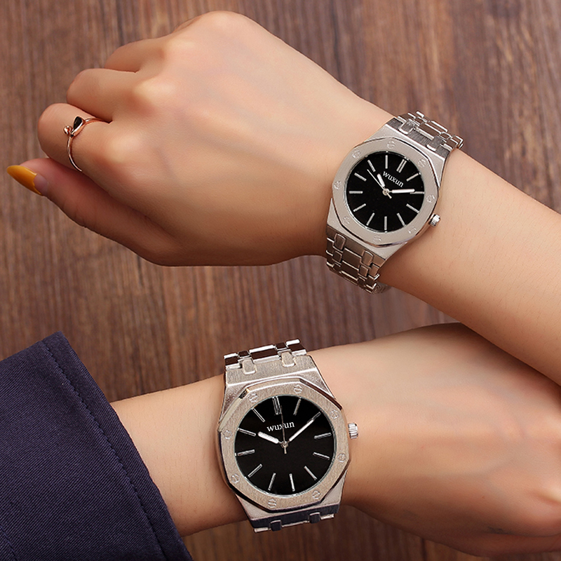 2019 New Hot Geneva Couple Watch Steel Belt Student Quartz Watch Explosion Watch Gift Relojes Mujer Casual Dress APB12