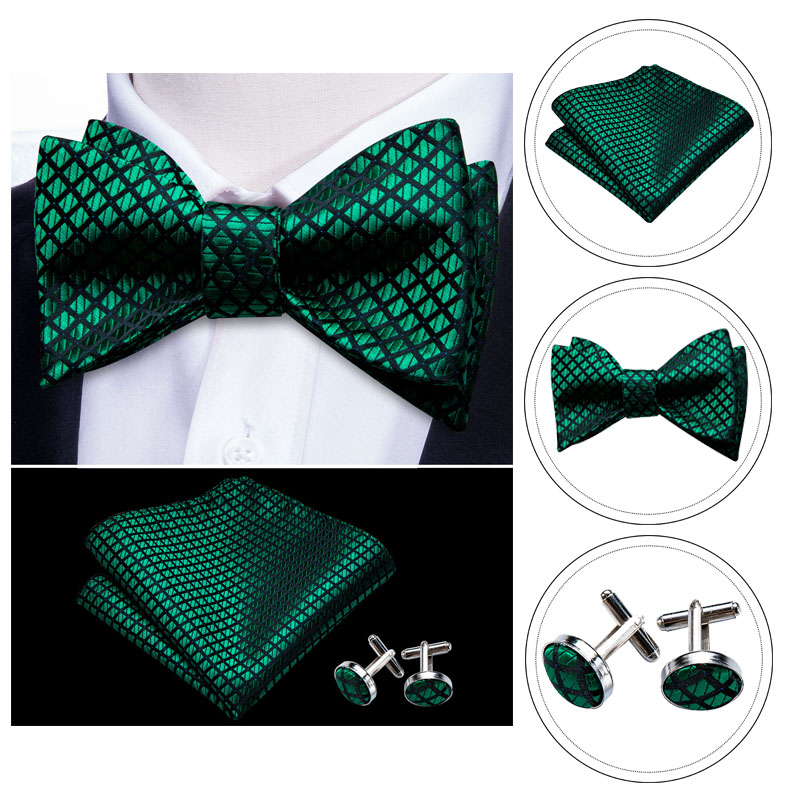 Bowtie for Men Solid Green Bow Tie Plaid Silk Bowtie Set Handkerchief Cufflinks Checked Bows Self-Tied Tie Barry.Wang Wholesale