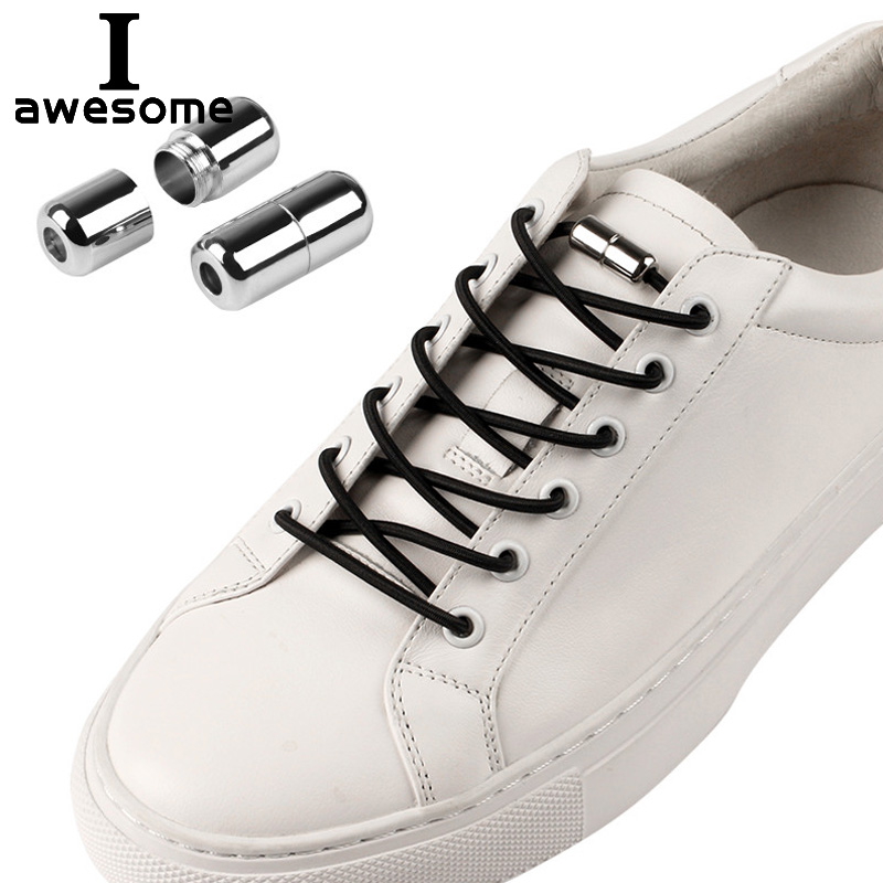 Round Elastic Locking Shoelaces Kids Adult Sneakers No Tie Lazy Shoestrings