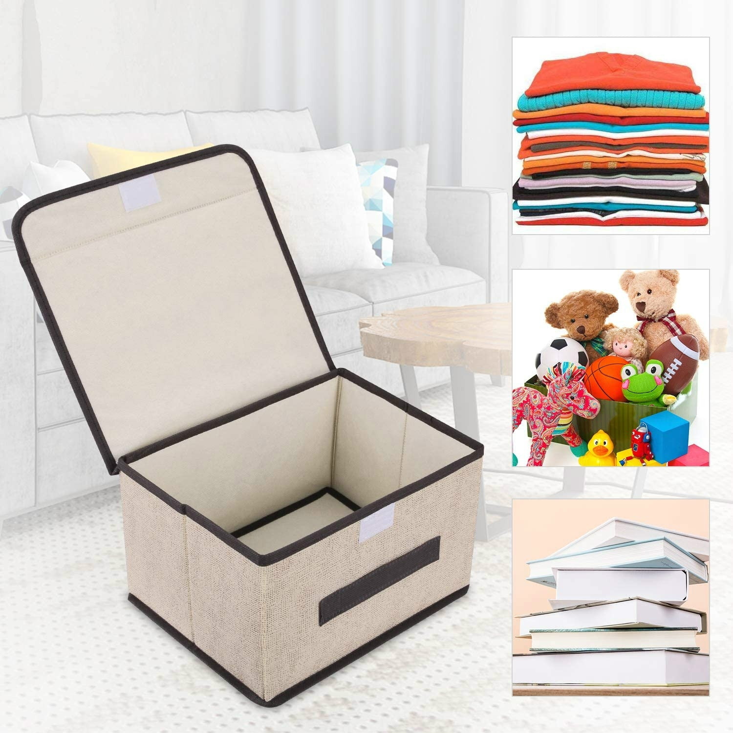 2 Pcs Storage Gift Box With Lid And Handle Foldable For Wardrobe Clothes Books Cosmetics Toy Organizer Housekeeping Organization