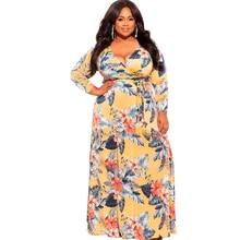 Ladies Plus Size Long-Sleeved Dress Beach Vacation Street Long Dress Printing Deep V Slim Long Plus Size Women's Dress XL-5XL