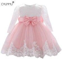 Vestido infantil para meninas, manga longa bebê criança menina vestido de renda flor batismo vestidos para meninas festa do primeiro aniversário casamento roupas de bebê