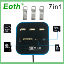 Eoth USB 2.0 usb 3.0 hub Combo All In One Multi-card Reader with 3 Ports USB2.0 Hab for MMC/M2/MS Blue Color Computer Notebook 5 25 usb 3 0 e sata all in 1 pc media dashboard multi function front panel card reader i o ports