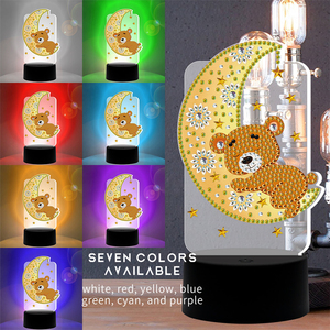 HUACAN LED Lamp Diamond Painting 5D Light Diamond Embroidery Owl Bear Mosaic Cartoon Home Decor Gift