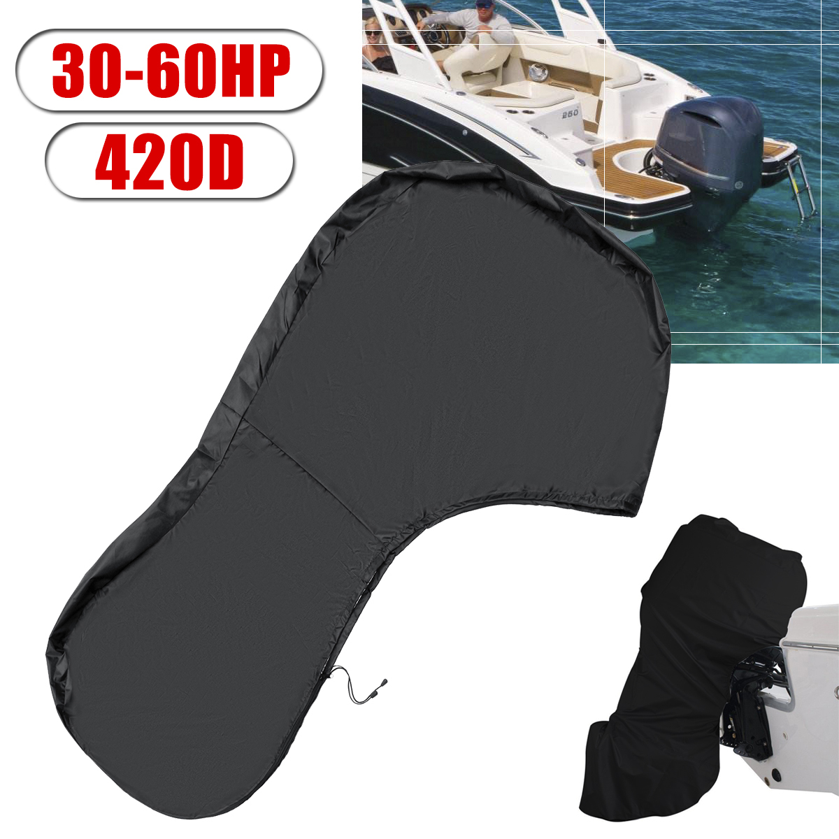 100HP 420D Full Outboard Engine Boat Cover Motor Waterproof Dust Protect 60HP