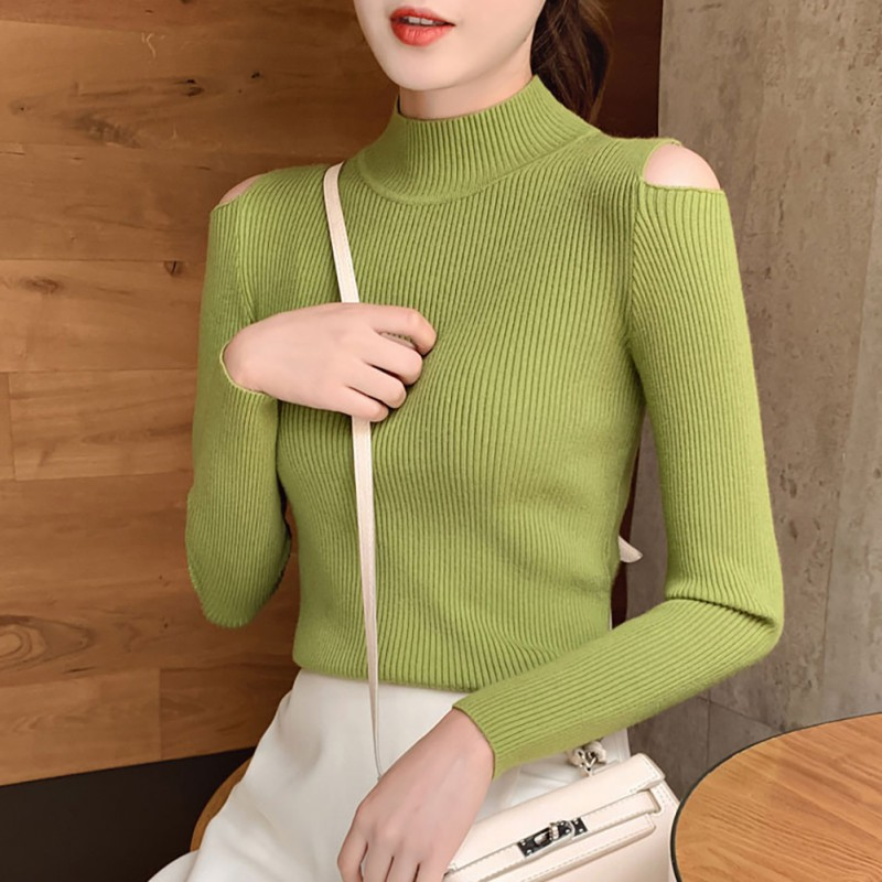 Autumn Winter Solid Color Women Sweater Sexy Slim Long-Sleeved Half-high Collar Slim Bottom Knit Off-the-shoulders Sweater Tops*