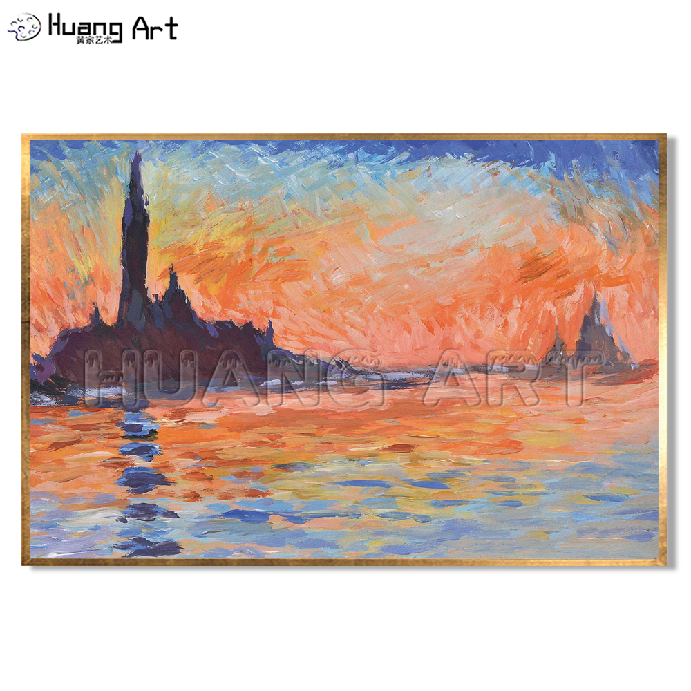 Hand-Painted San Giorgio Maggiore At Dusk Landscape Imitation Painting Famous Claude Monet Oil on Canvas Wall Decor Art