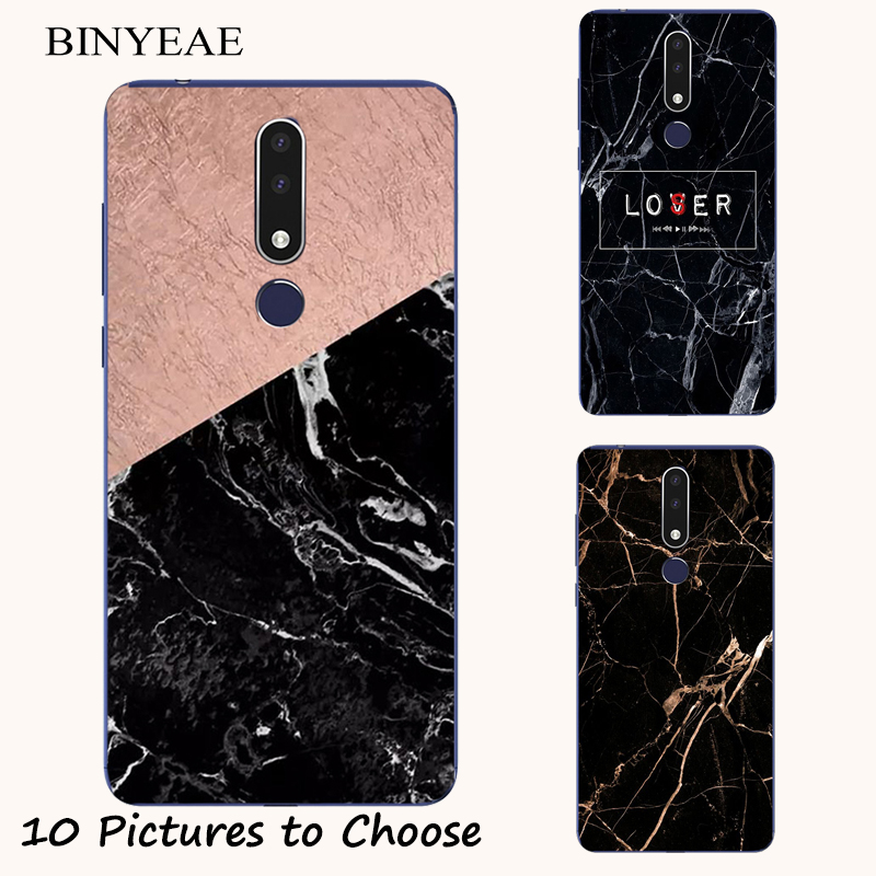 Black Marble stone soft silicone Painting Case For <font><b>Nokia</b></font> 2.1 7.1 8.1 2.2 3.2 <font><b>4.2</b></font> 3.1 5.1 6.1 1 7 Plus 6 2018 <font><b>Phone</b></font> silicon Cover image