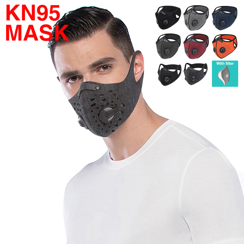 KN95 Masks BIKING Cycling Sport Training Face Mask PM2.5 Anti-pollution Running Reusable Washable Mask Activated Carbon Filter