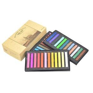 Мелки для рисования, 12/24/36/48 цветов, набор для рисования, легкая в использовании, гладкая краска для волос, тонер, мягкая Пастельная кисть для ...