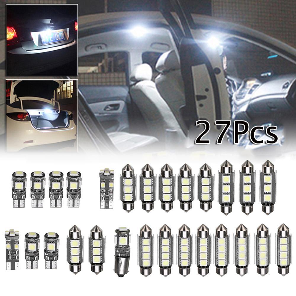 27 Uds Kit de minibombillas LED blancas para coche 6000K accesorios de Interior de coche para Mercedes Benz Clase E W211 02-08