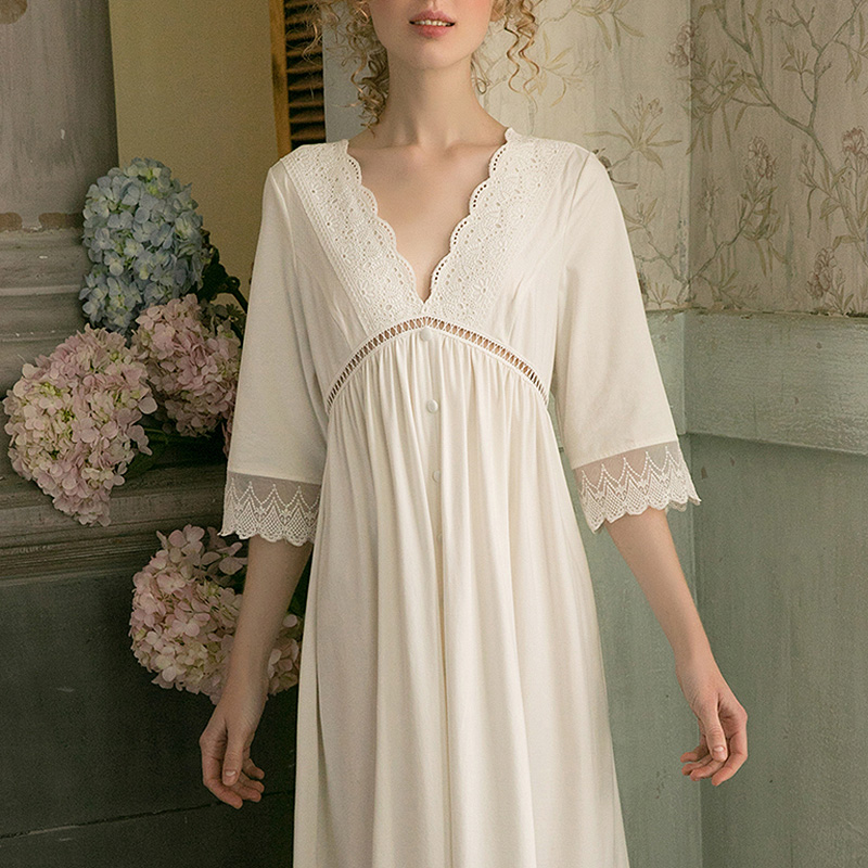 Женское белое платье лолиты, кружевные рубашки для сна в стиле принцессы, винтажные хлопковые ночные рубашки с глубоким V-образным вырезом, ...