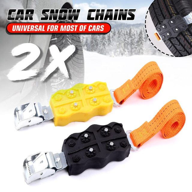 2PCS Snow Chains Winter Car Truck Tire Anti-skid Belts Emergency Mud Sand Ice Ground Roadway Safety Wear-resistant Wheel Chains