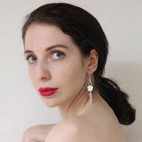999 Sterling Silver Tassel Earrings For Women Accessories Flower Fringe Earrings Handmade Luxury Wedding Jewelry Korean Fashion