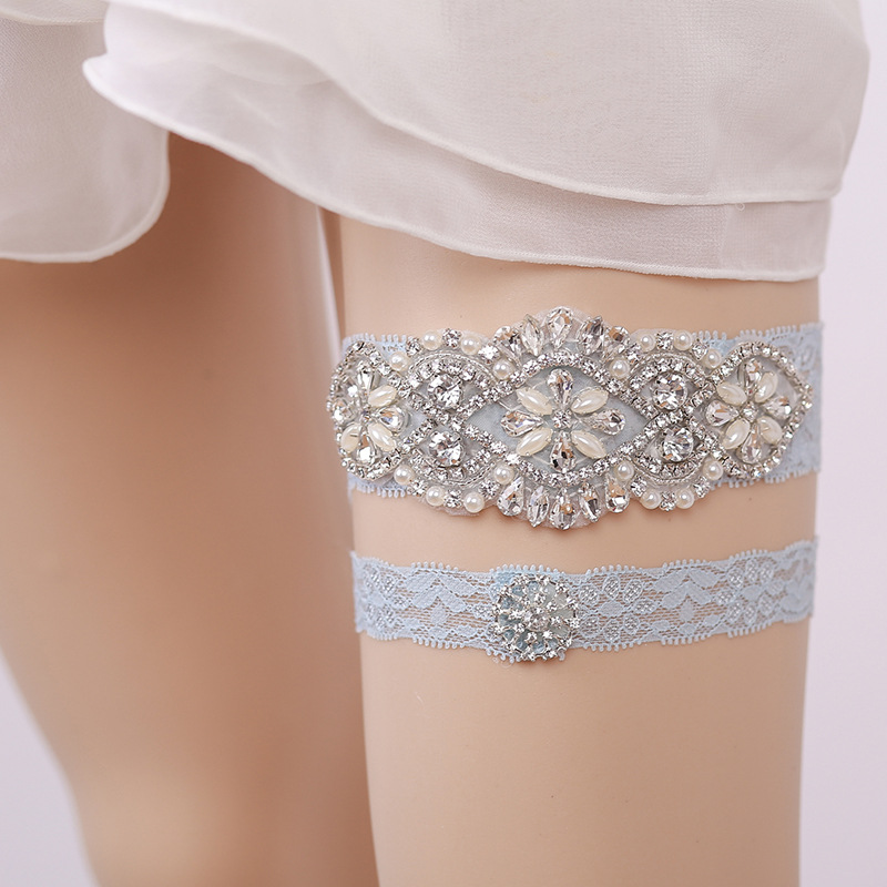 Dusty Blue Wedding Garter Pearl Bridal Garters Stretch Lace Garter Crystal Rhinestone Garter Set Keepsake