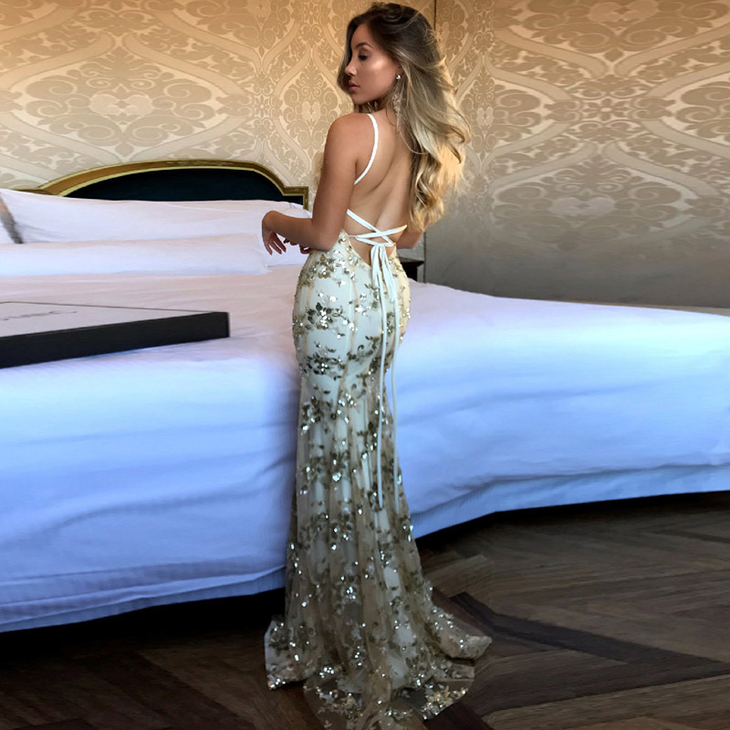 Купить с кэшбэком Sexy Mermaid Evening Dress Sequins Vestido de Fiesta Women Long Maxi Dress Open Back Glitter Robe Stage Dress YSM-050