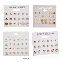 Kymyad 17 Style Stud Earrings Sets For Women Bijoux Crystal Imitation Pearl Jewelry Set Cute Part Womens Gift