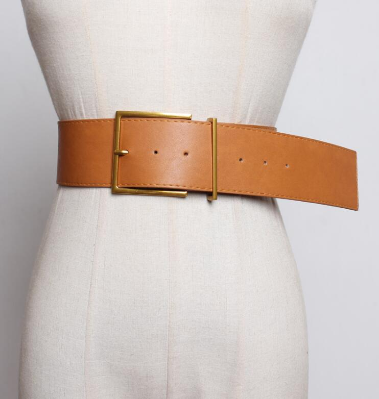 Women's Runway Fashion Pu Leather Cummerbunds Female Dress Corsets Waistband Belts Decoration Wide Belt R2416