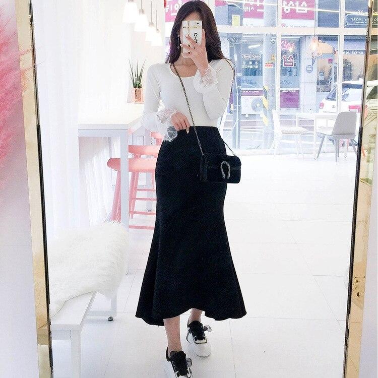 19 Autumn New Style South Korea Dongdaemun High-waisted Solid Color Skirt Slimming Sheath Fishtail Skirt Long Skirts Versatile W