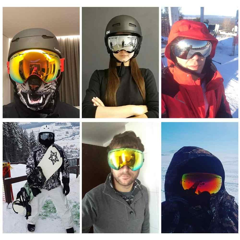 Лыжные очки с защитой UV400, очки для сноуборда, противотуманная большая Лыжная маска, очки для снега, снегохода, мужские и женские очки для лыжного спорта и активного отдыха